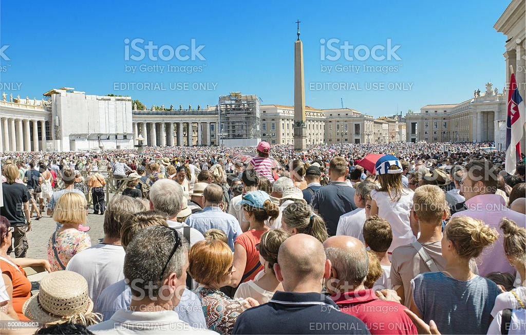 Saint Peter's Square full of people waiting for pope Francis stock photo