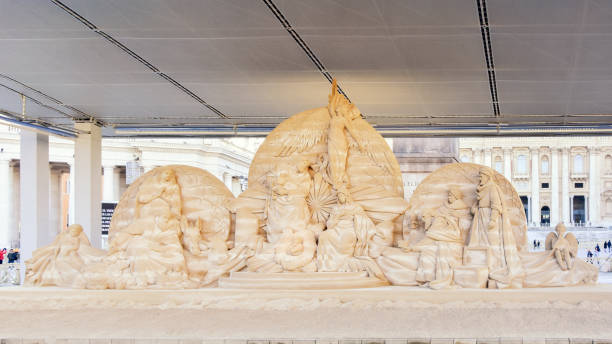 Saint Peter's Square in the Vatican, Nativity Scene, composition of sand sculptures stock photo