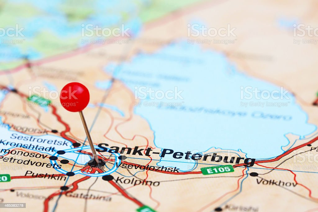 Saint Petersburg Pinned On A Map Of Europe Stock Photo Istock