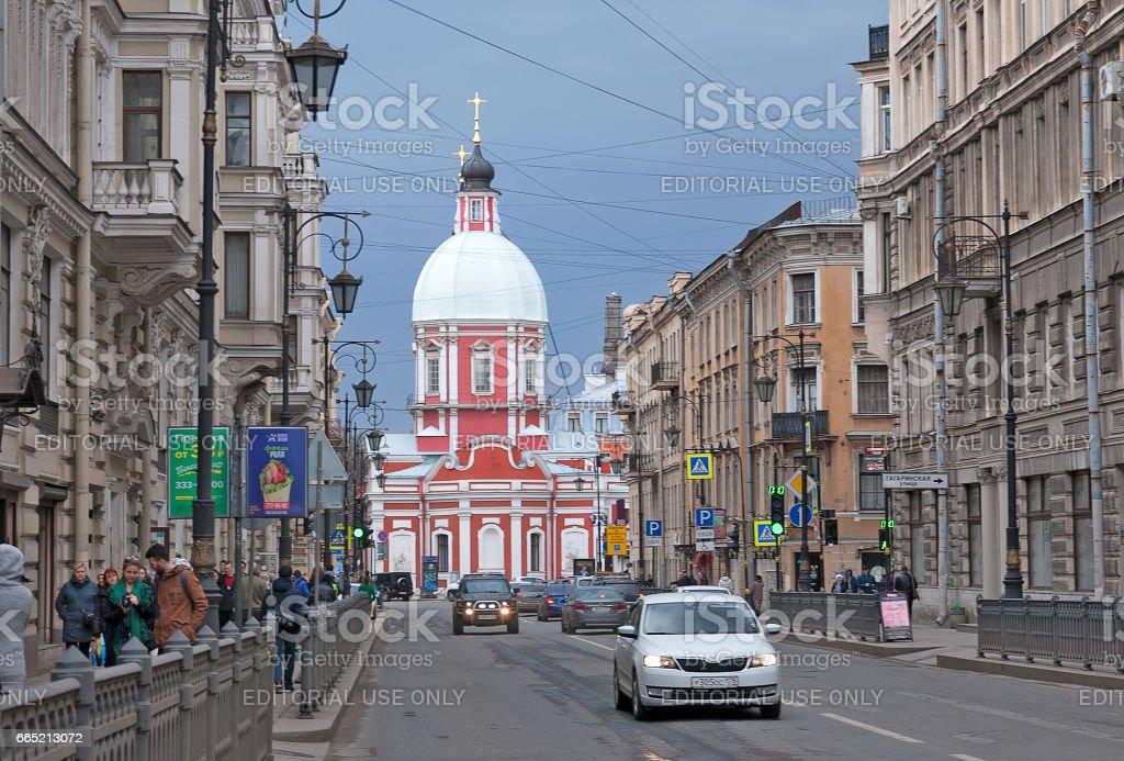 Saint – Petersburg. Russia. People and cars on Pestel Street stock photo
