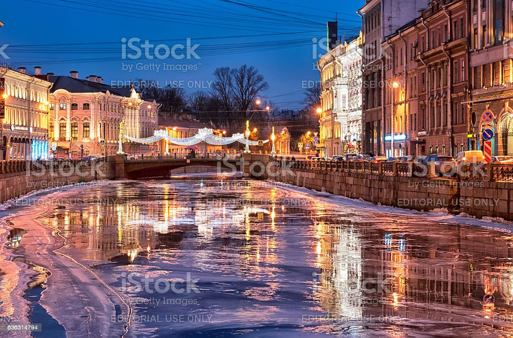 Saint – Petersburg. Russia. The Moika River stock photo