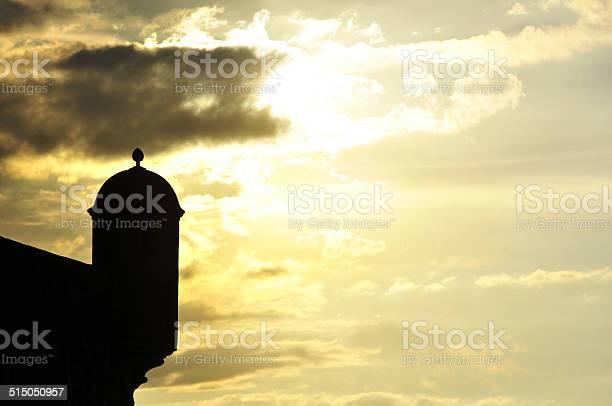 Photo of Saint Phillip fort, Puerto Plata, Dominican republic, guerite at sunset
