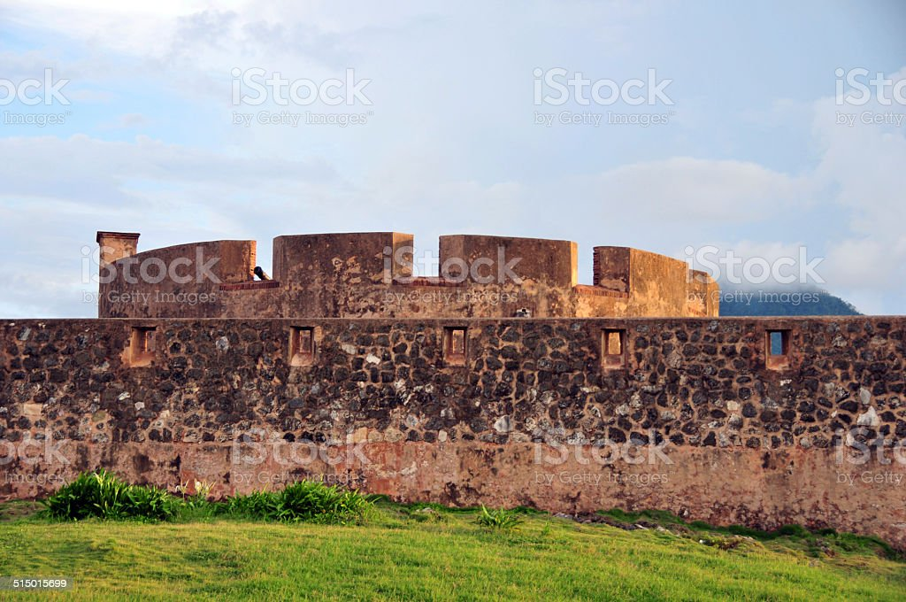 Saint Phillip fort, Puerto Plata, Dominican republic - round tower stock photo