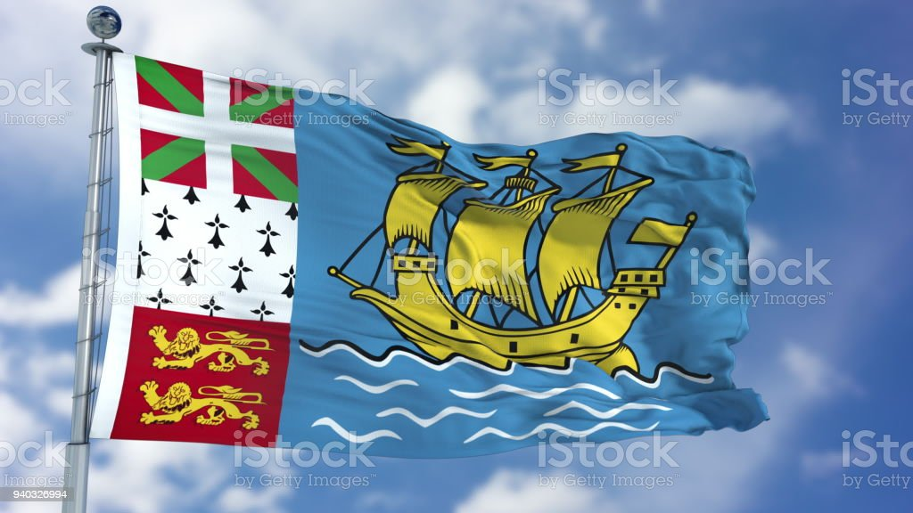Saint Pierre and Miquelon Flag in a Blue Sky stock photo