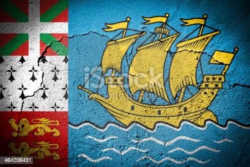 Saint Pierre and Miquelon flag on cracked wall