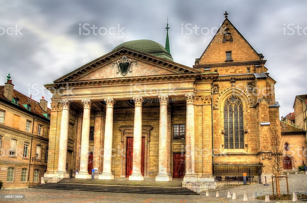 Saint Pierre Cathedral of Geneve in Switzerland stock photo