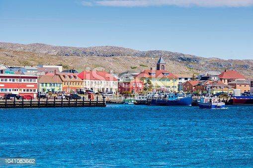 Saint Pierre panorama from the sea.  Saint Pierre, Saint Pierre and Miquelon.