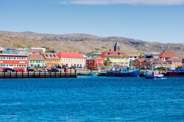 Saint Pierre panorama from the sea stock photo