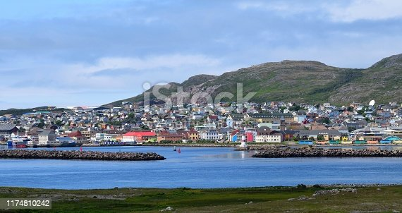 Saint Pierre city panorama, view from the Ile aux Marin past the harbor entrance towards the town of Saint Pierre, Saint Pierre and Miquelon