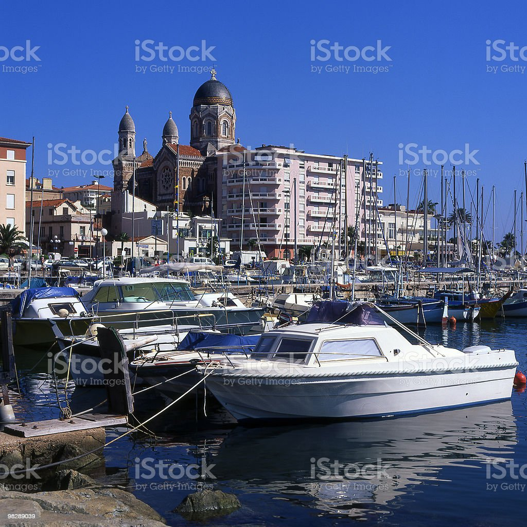 Saint Raphael Harbour and Town in South of France royalty-free stock photo