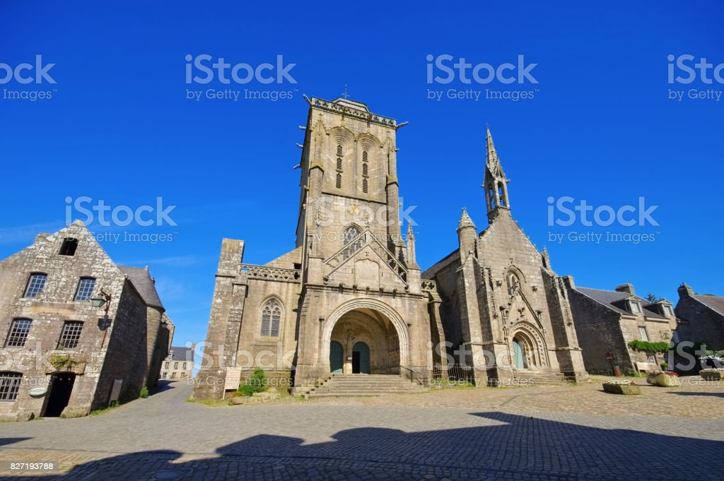Saint Ronan church in Locronan, medieval village in Brittany, France stock photo