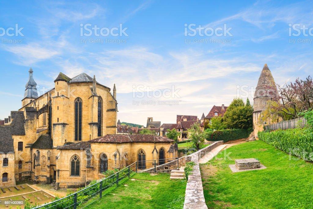 Saint Sacerdos Cathedral of the Sarlat-la-Caneda stock photo