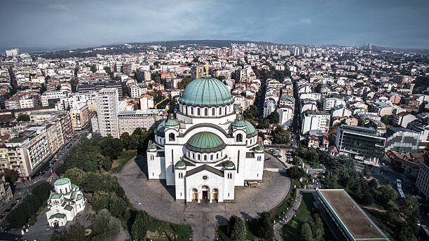 Saint Sava Temple Aerial view of Saint Sava Temple in Belgrade, Serbia. This is one of the largest Orthodox churches in the world. serbia stock pictures, royalty-free photos & images