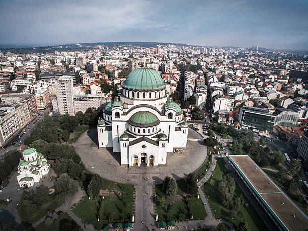 Saint Sava Temple Aerial view of Saint Sava Temple in Belgrade, Serbia. One of the largest Orthodox churches in the world. serbia stock pictures, royalty-free photos & images