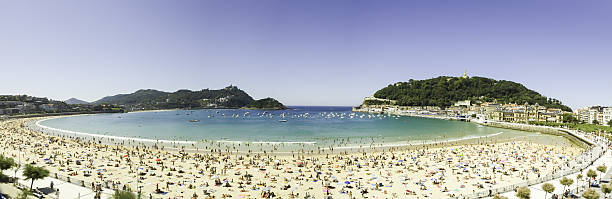 Saint Sebastian beach big panorama stock photo