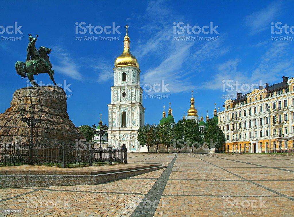 Saint Sophia Cathedral and monument to Bogdan Khmelnitsky stock photo
