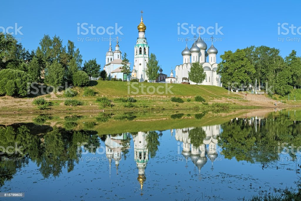 Saint Sophia Cathedral, Bell tower and Church of Alexander Nevsky in Vologda, Russia stock photo