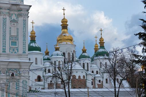 Saint Sophia Cathedral in Kiev, Ukraine. Christmas flashlights, tree and decorations.