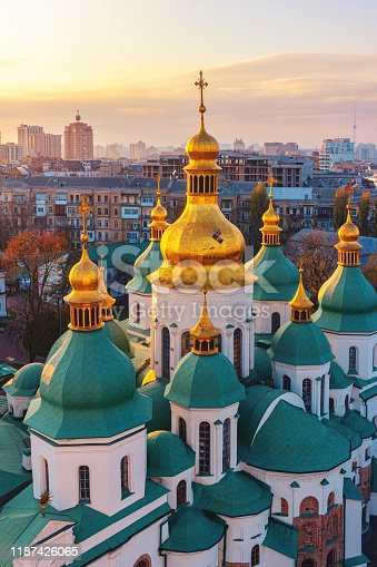 istock Saint Sophia Cathedral, inscribed on the World Heritage List, one of the main landmarks in Kyiv city, Ukraine. aerial view 1187426065