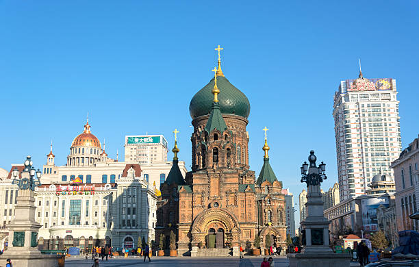 Saint Sophia Cathedral Harbin, China - November 11, 2013: Saint Sophia Cathedral in the morning, located in the central district of Daoli, Harbin City, Heilongjiang Province, China. harbin stock pictures, royalty-free photos & images