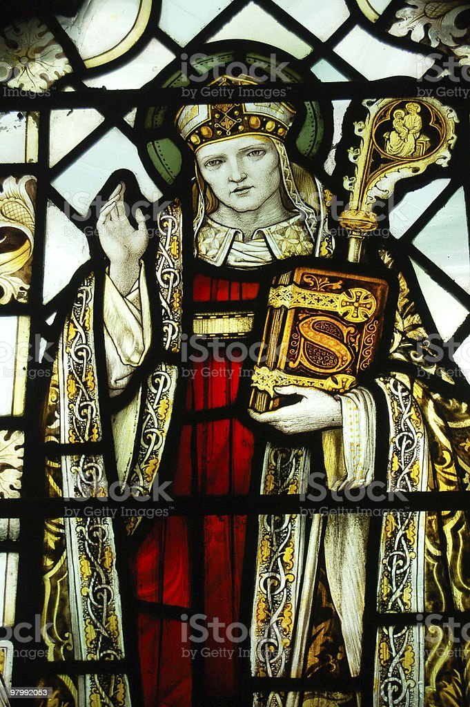 Saint Swithin stained glass window royalty-free stock photo