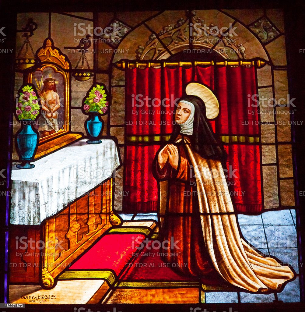Saint Teresa Praying Stained Glass Convent Avila Castile Spain stock photo