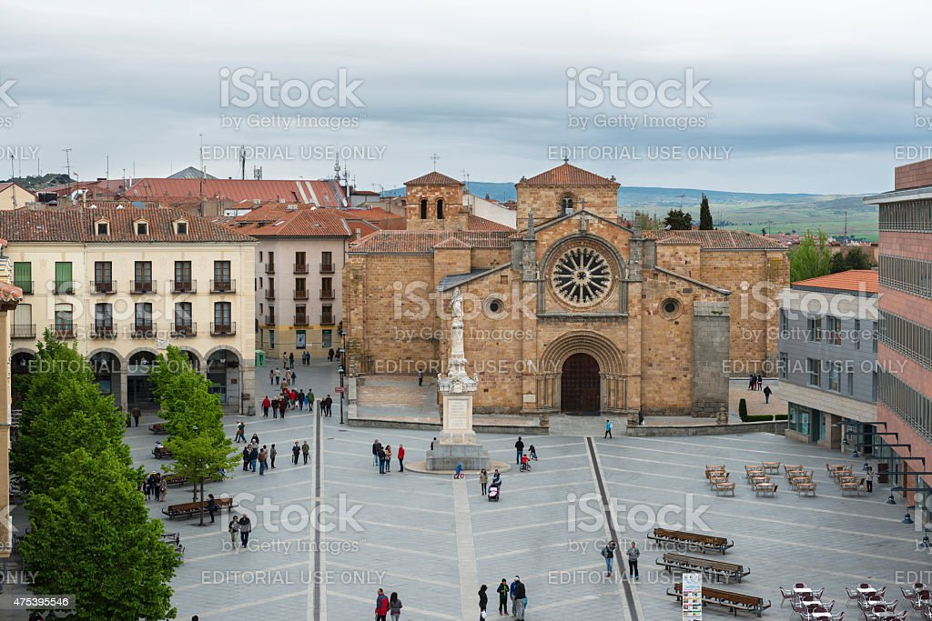 Saint Teresa square and Saint Peters church in Avila stock photo