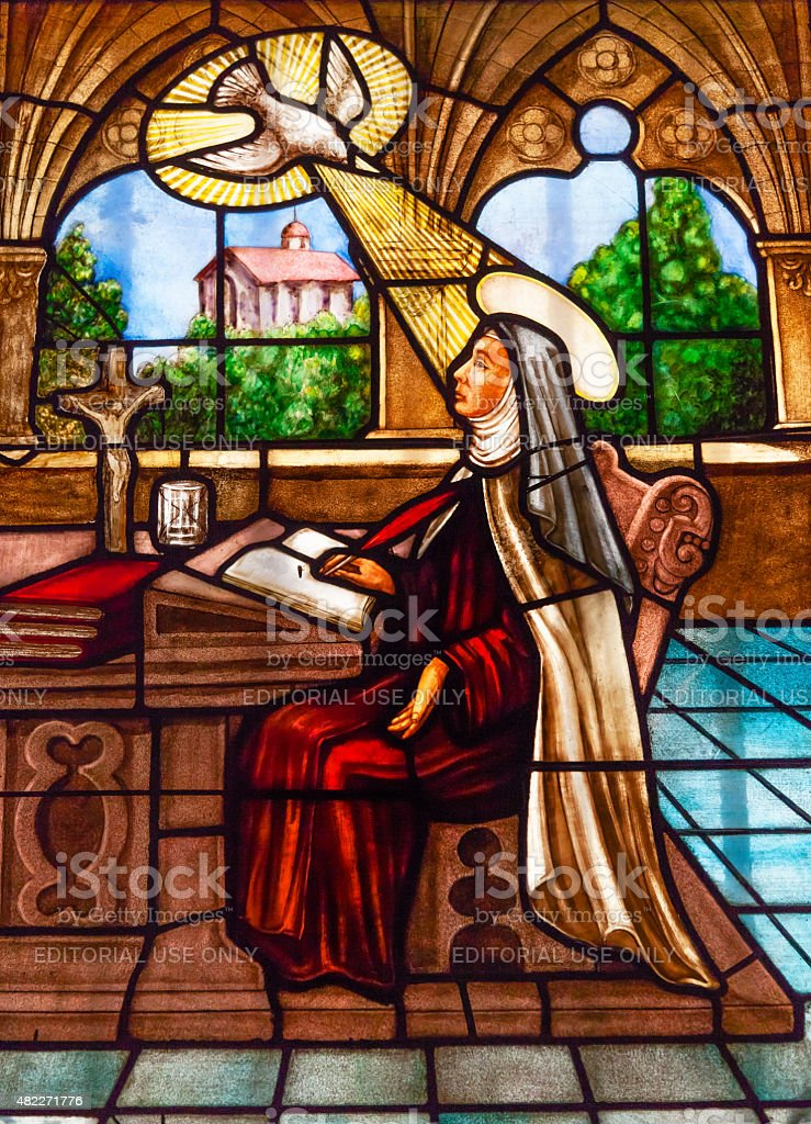 Saint Teresa Writing Stained Glass Convent Avila Castile Spain stock photo
