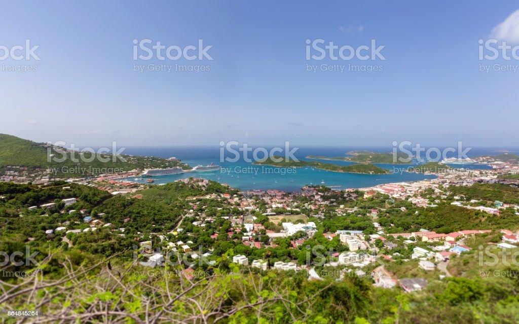 Saint Thomas high angle view, US Virgin Islands stock photo
