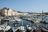 Saint Tropez, France Boats and buildings at portthe marina.