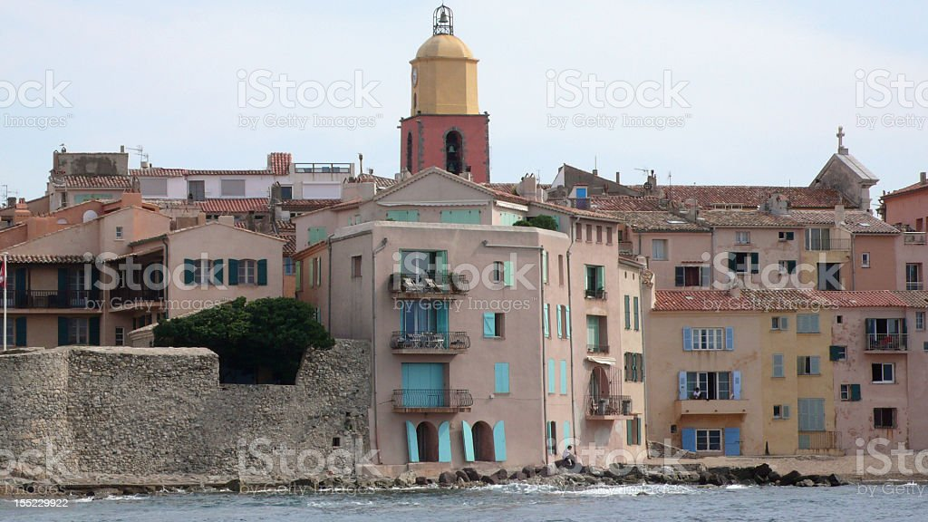 Saint Tropez from the ferry boat stock photo