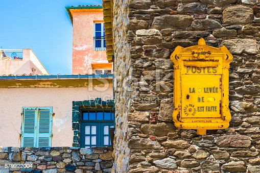 istock Saint Tropez vintage Post Box and house facades 579222004