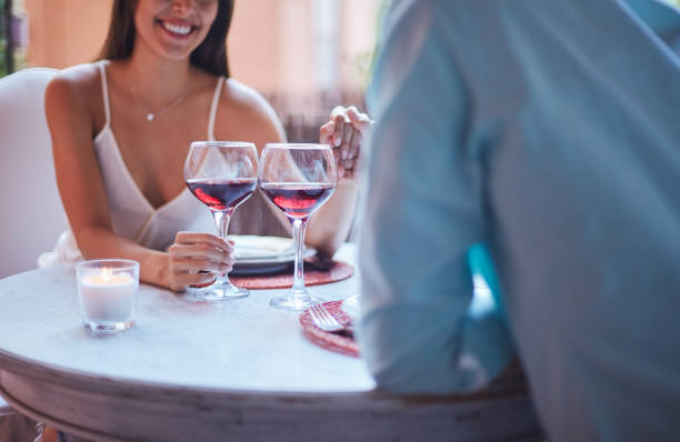 Saint Valentine day lifestyles in Barcelona home one woman table for two stock pictures, royalty-free photos & images