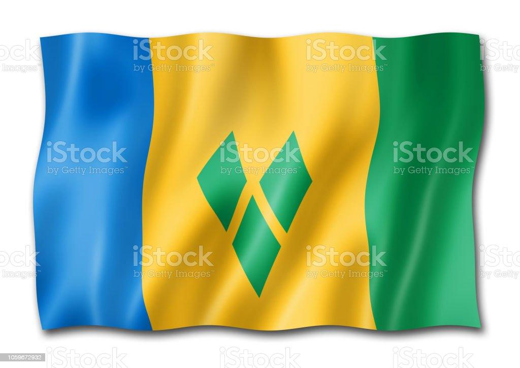 Bandeira de São Vicente e Granadinas isolada no branco - foto de acervo