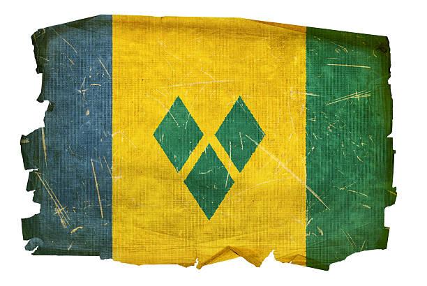 saint vincent und die grenadinen flagge alt. - kingstown stock-fotos und bilder