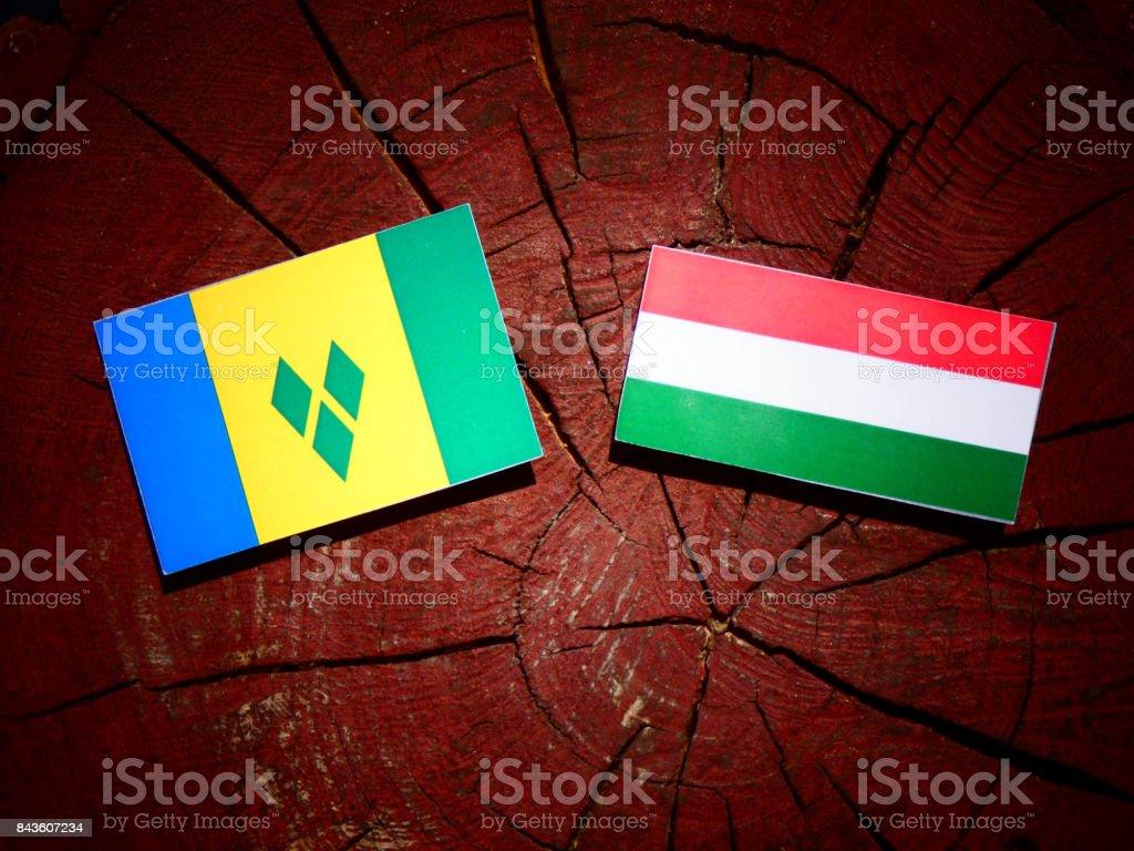 Bandeira de São Vicente e Granadinas com bandeira húngara no tronco de uma árvore isolada - foto de acervo