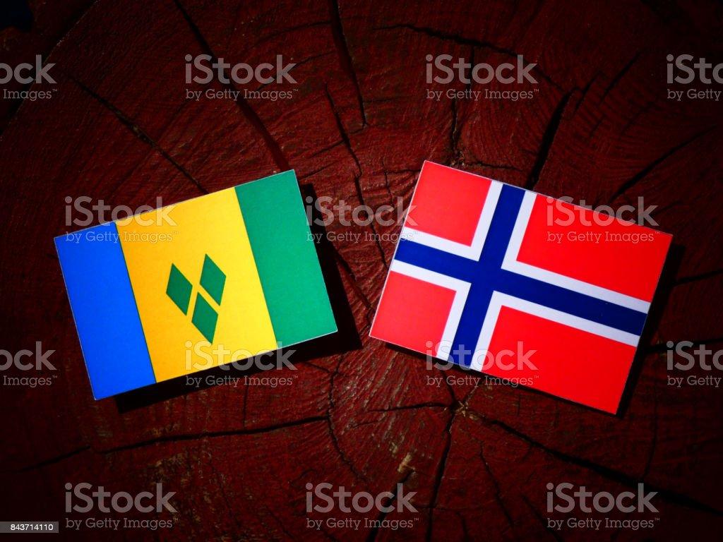 Bandeira de São Vicente e Granadinas com bandeira norueguesa no tronco de uma árvore isolada - foto de acervo