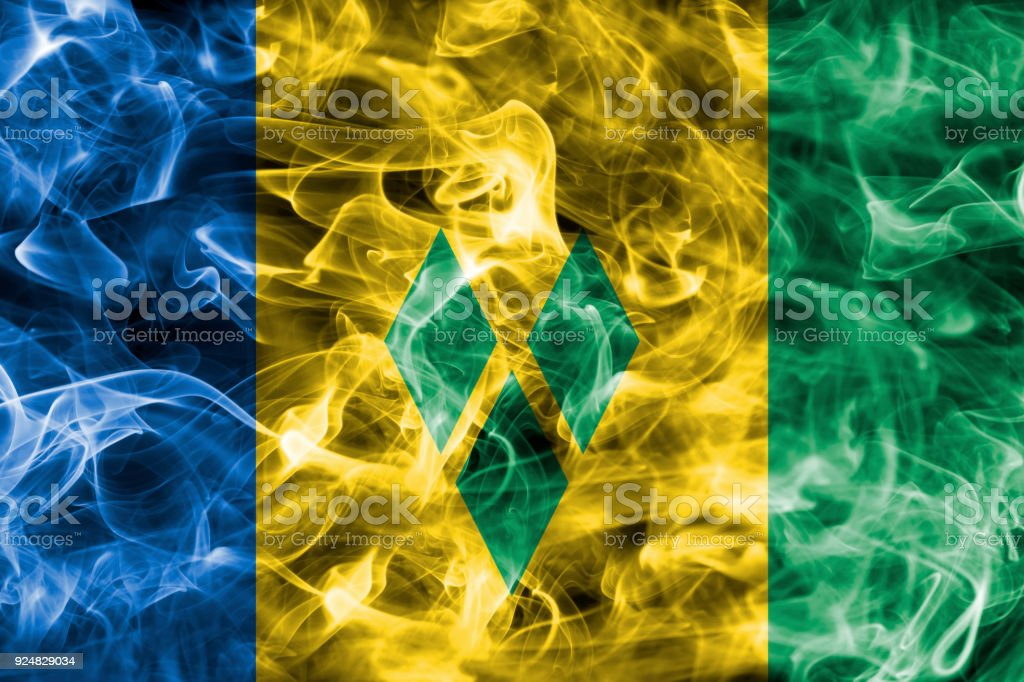Bandeira de São Vicente e Granadinas fumaça - foto de acervo
