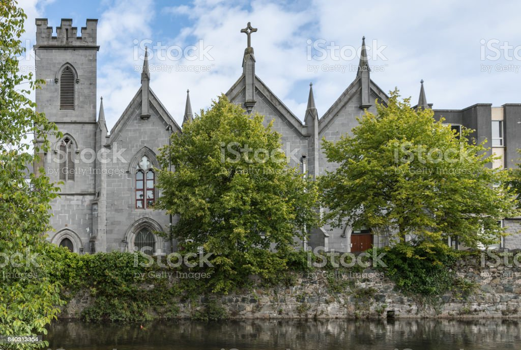 Saint Vincent Convent of Mercy behind Corrib River, Galway Ireland. stock photo