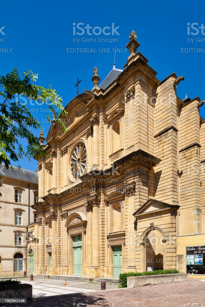 Saint-Clément church in Metz Metz, France - June 24 2020: The Saint-Clément church is the former church of the Benedictine abbey of the Saint-Clément, in the Pontiffroy district. Abbey - Monastery Stock Photo