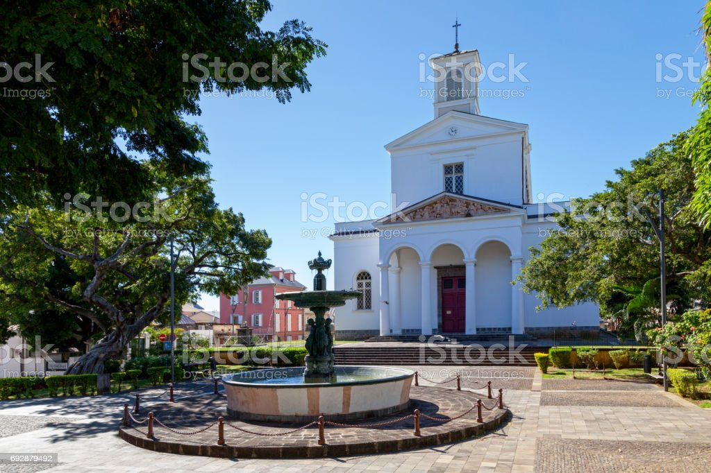 Saint-Denis Cathedral - Reunion Island stock photo