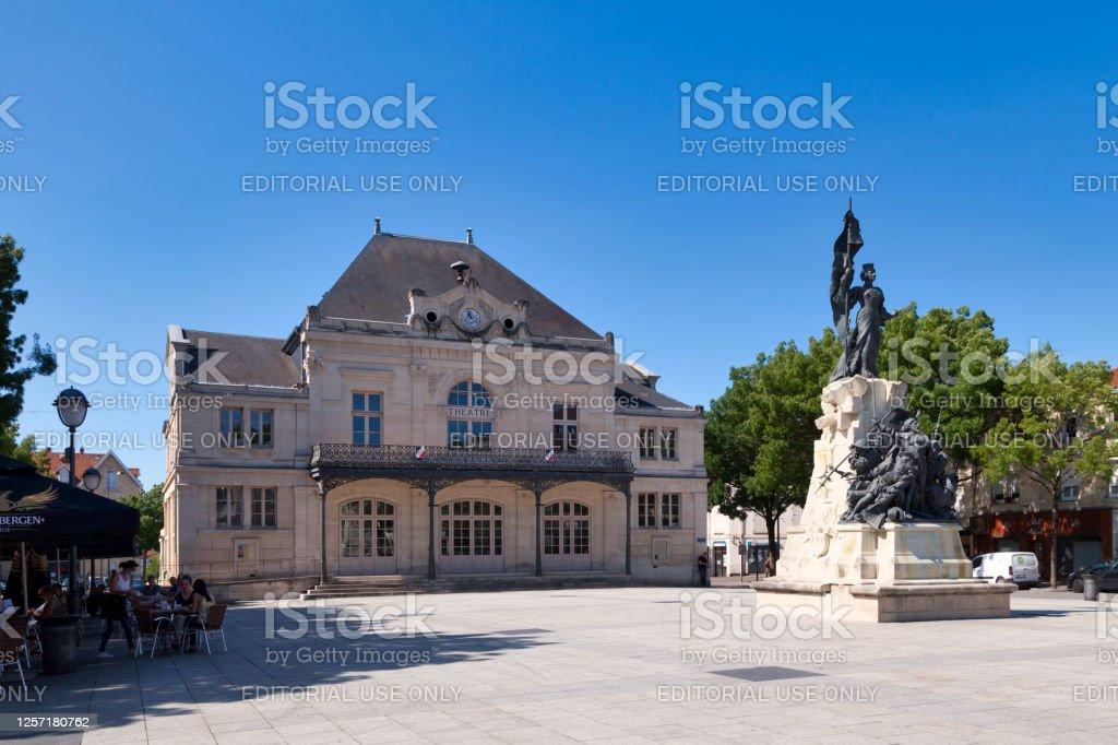 "Saint-Dizier theater Saint-Dizier, France - June 25 2020: The Saint-Dizier theater is a performance hall of the Haute-Marne department, listed as a historic monument since 2007.""n Architecture Stock Photo"