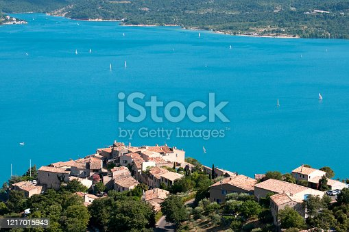Lake of Sainte Croix and Verdon gorge, Provence in France. It's a touristic and famous place with beautiful landscape with crystalline and transparent water.