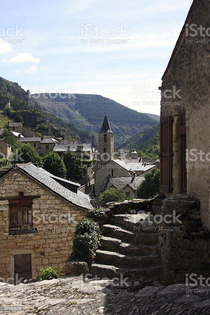 Sainte-Enimie village royaltyfri bildbanksbilder