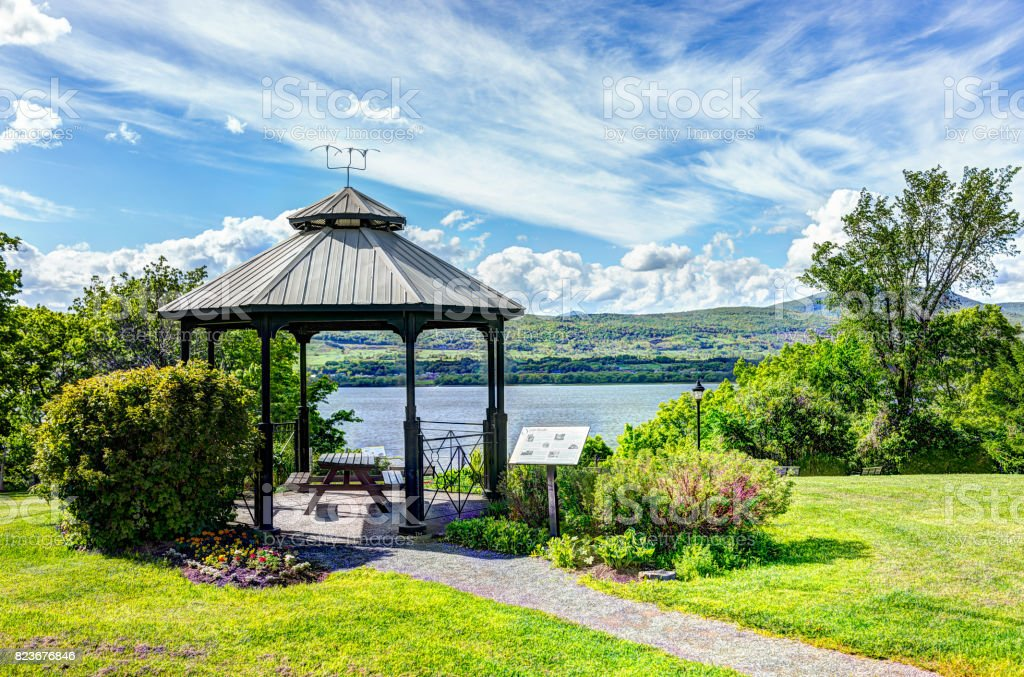 Sainte-Famille park in summer in Ile D'Orleans, Quebec, Canada with gazebo stock photo