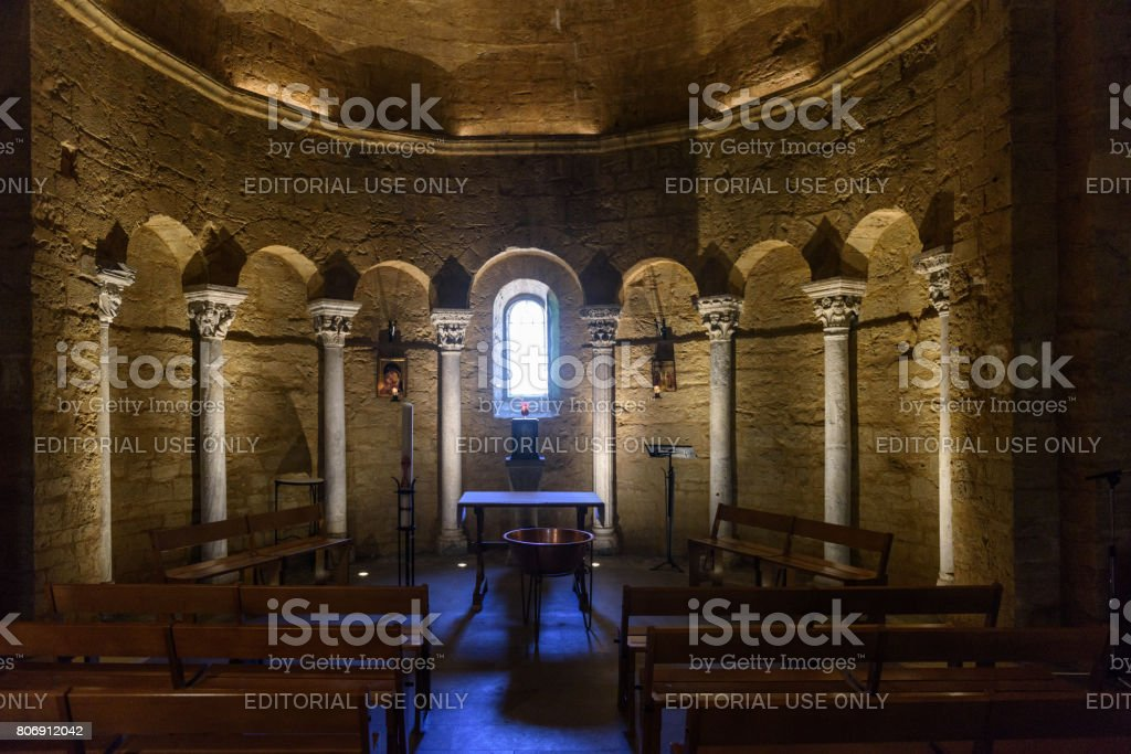 Saintes Maries de la mer, interior of the Holy Church S.ta Maria and Sarah stock photo