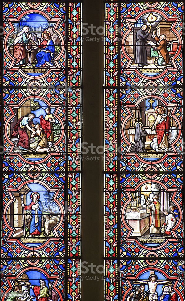 Sainte-Suzanne (Loire, France) - Stained glass window stock photo