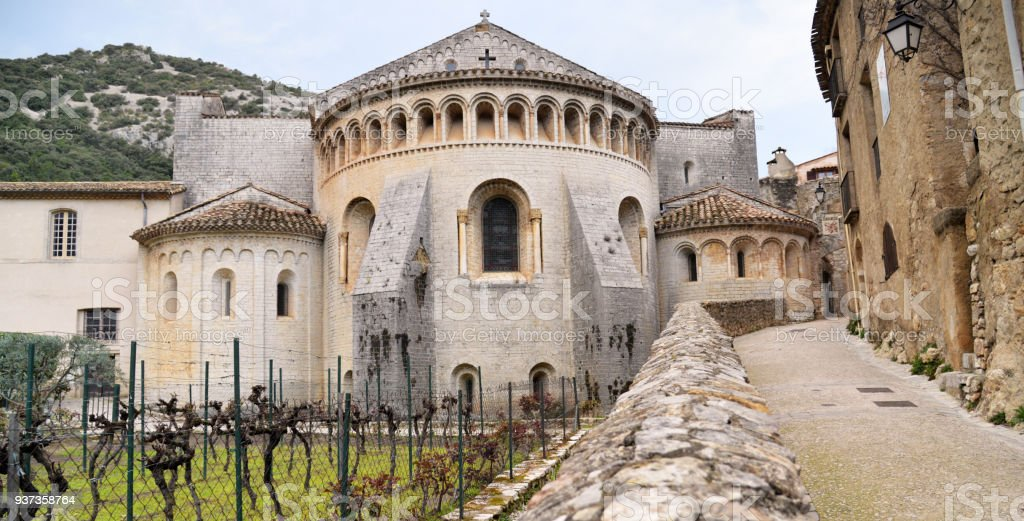 Saint-Guilhem-le-désert abbey or gellone abbey. French monastery. South of France. UNESCO world heritage site and part of the Routes of Santiago de Compostela. stock photo