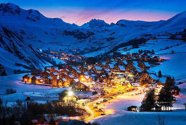 Saint-Jean d'Arves, alps, France Evening landscape and ski resort in French Alps,Saint jean d'Arves, France apres ski stock pictures, royalty-free photos & images