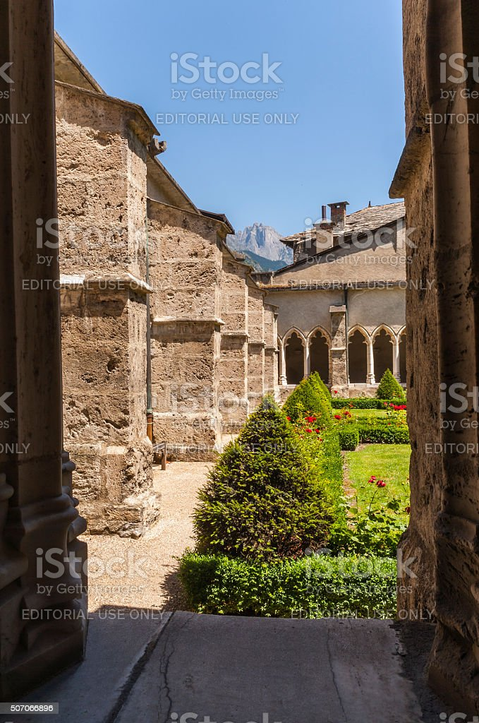 Saint-Jean-de-Maurienne, France. In the cloister of the Cathedral stock photo